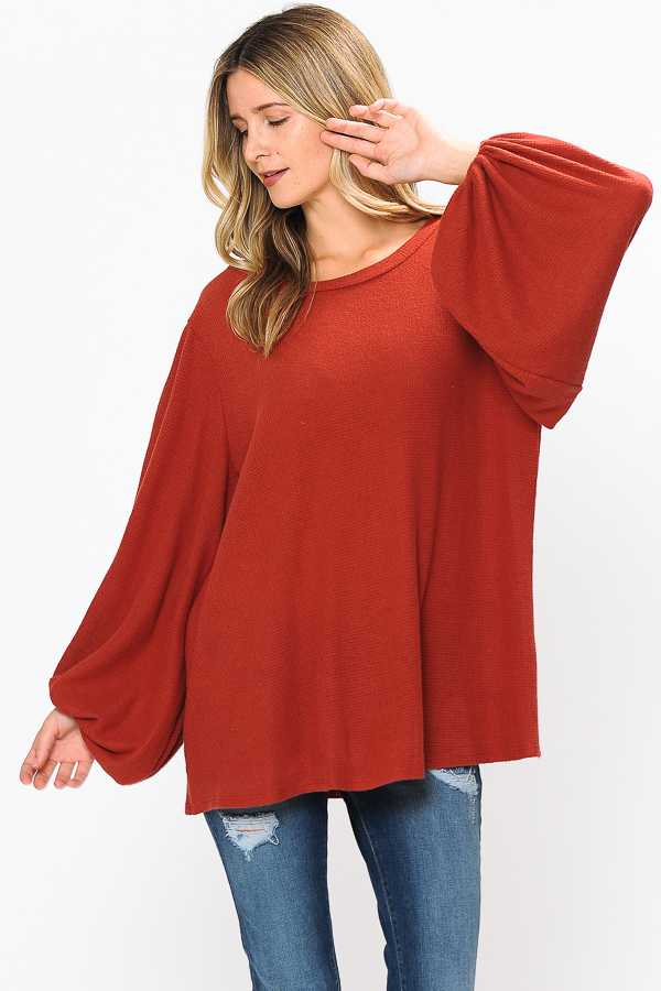 PLUS SIZE BUBBLE SLEEVE KNIT TUNIC TOP