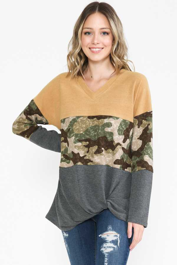 PLUS SIZE-CAMOUFLAGE PRITN V NECK DETAIL TUNIC TOP