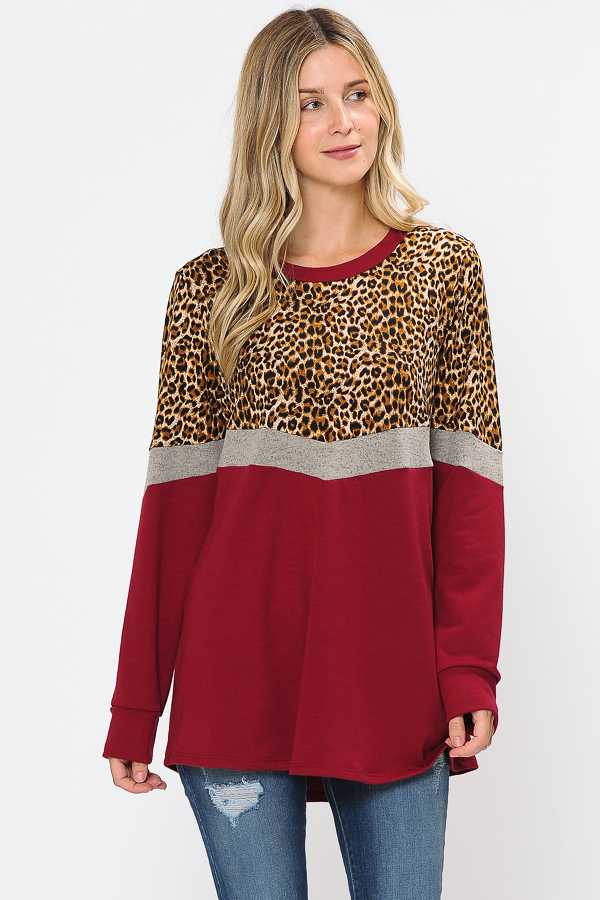 PLUS SIZE LEOPARD PRINT CONTRAST LONG SLEEVE TOP