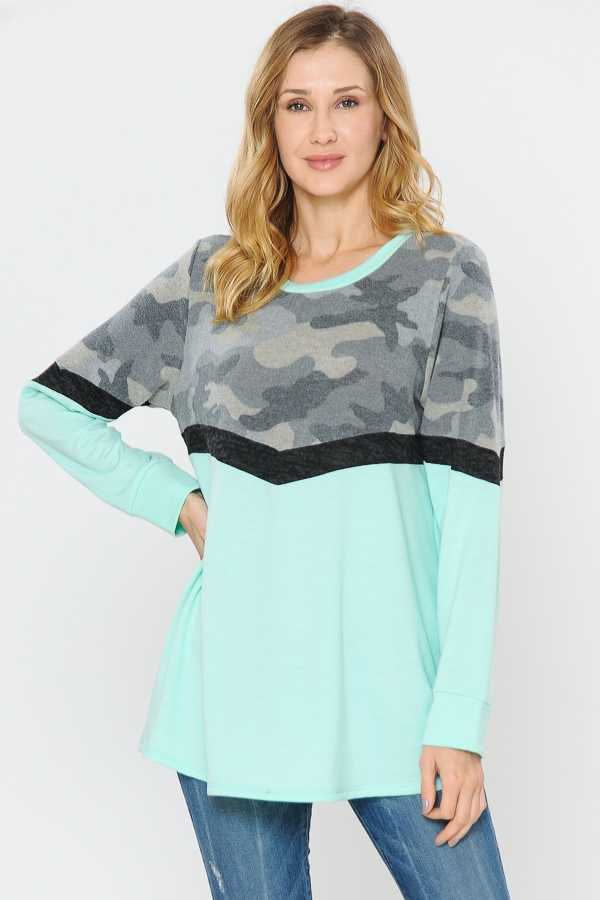 CAMOUFLAGE PRINT COLORBLOCKED TUNIC TOP