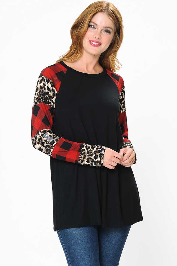 CHECKER LEOPARD SLEEVE CONTRAST DETAILED TOP