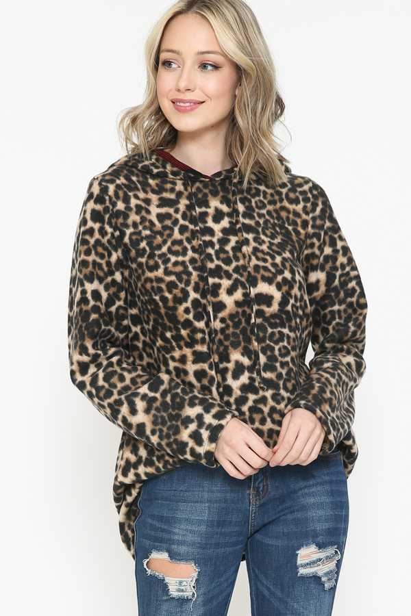 PLUS SIZE-LEOPARD PRINT DETAIL SWEATER TUNIC TOP