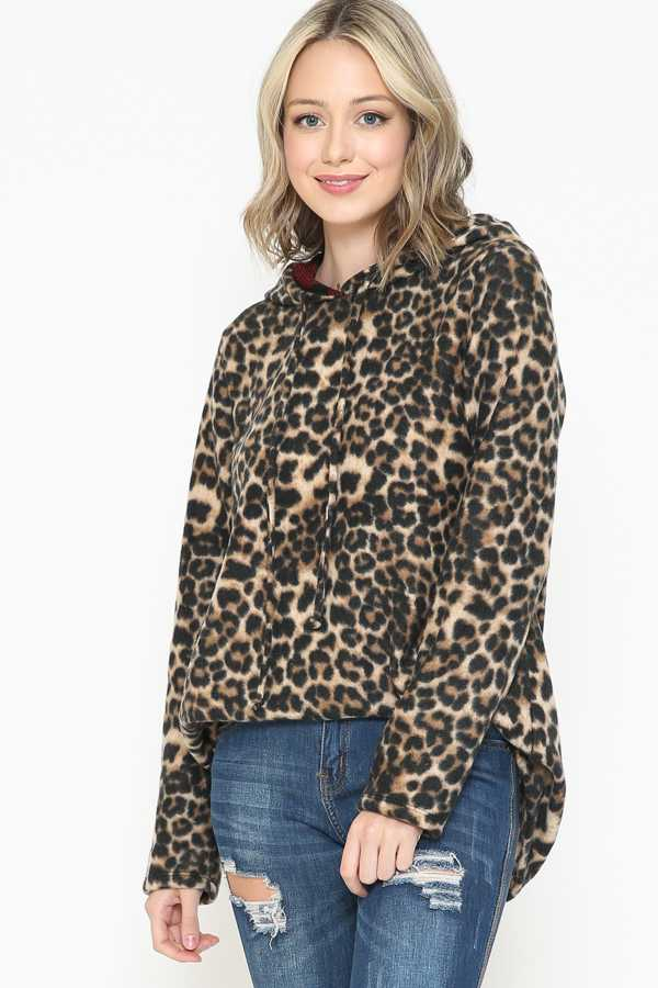 LEOPARD PRINT DETAIL SWEATER TUNIC TOP