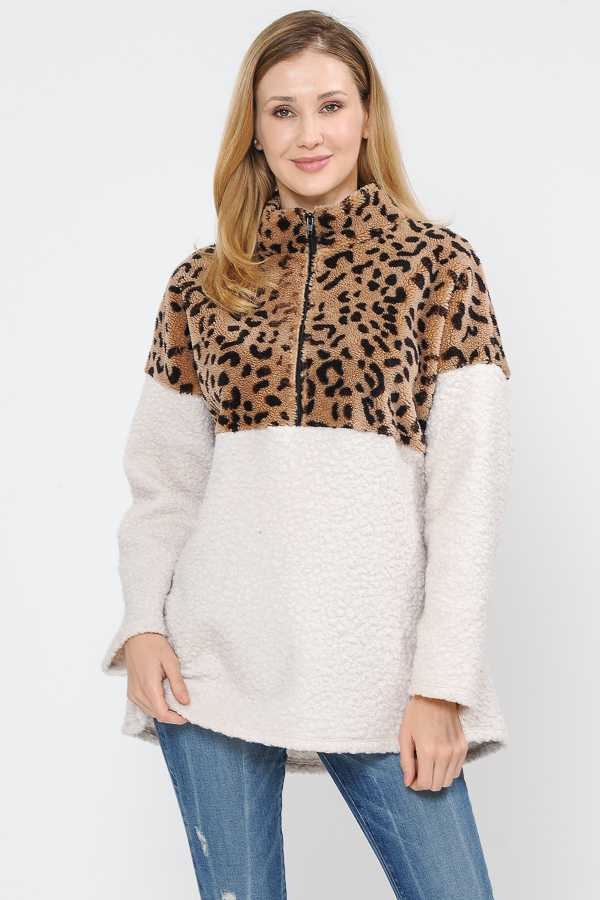 PLUS SIZE LEOPARD PRINT HALF ZIP FLEECE TOP