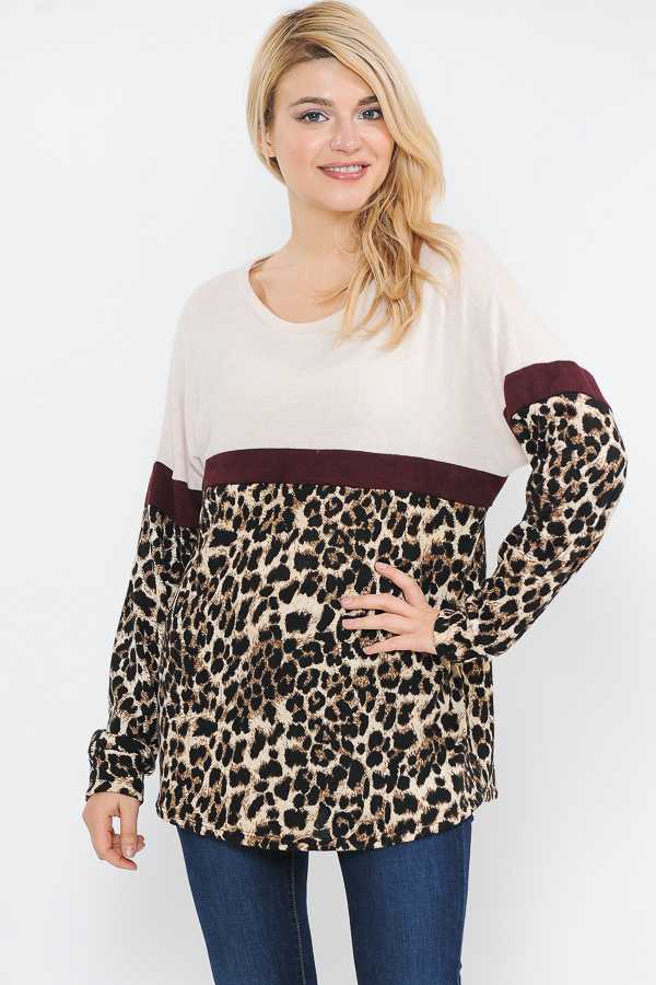 PLUS SIZE ANIMAL PRINT COLORBLOCKED TUNIC TOP