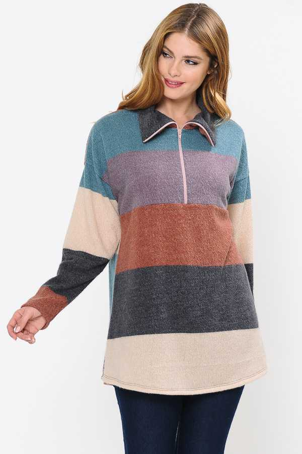 12/30 PRE ORDER COLOR BLOCK HALF ZIP KNIT TOP