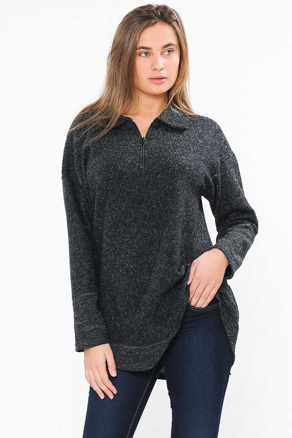 TWO TONE HALF ZIP FLEECE TOP