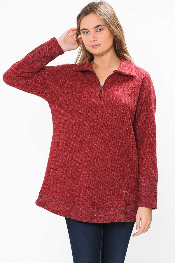PLUS SIZE TWO TONE HALF ZIP FLEECE TOP