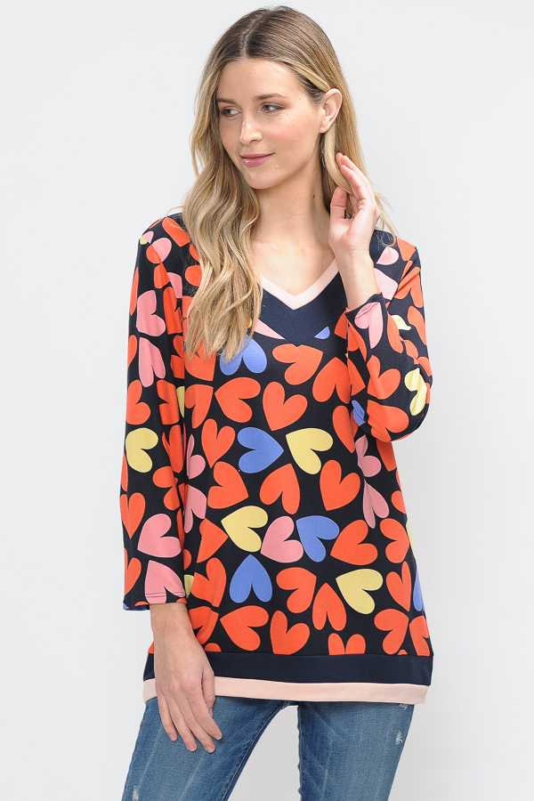 HEART PRINT DETAILED TUNIC TOP