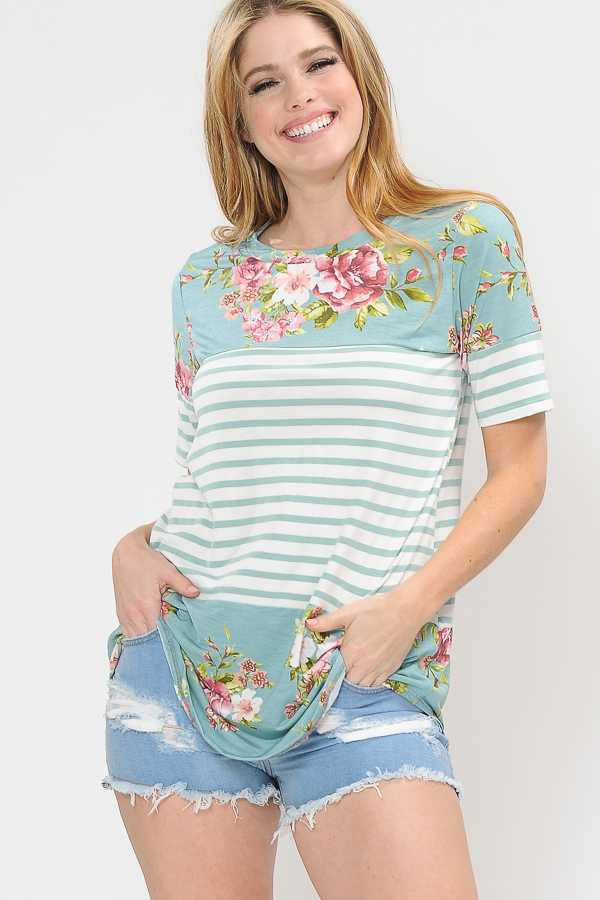 PLUS SIZE STRIPED FLORAL PRINT TUNIC TOP