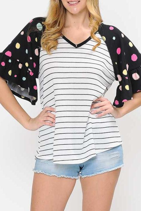 PLUS SIZE V NECK STRIPE PRINT POLKA DOT CONTRAST TUNIC TOP
