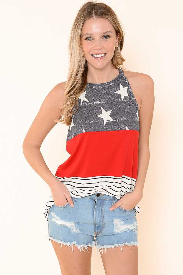 PLUS SIZE-AMERICAN FLAG PRINT HALTER TOP