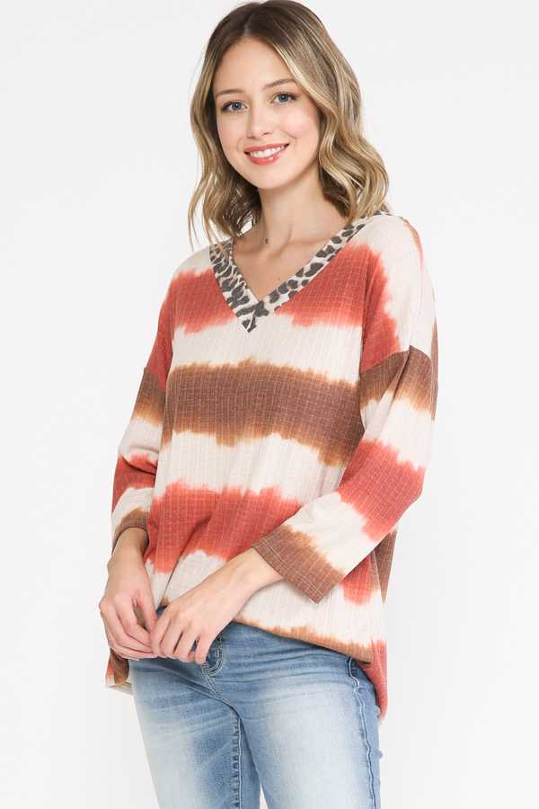 PLUS SIZE-TIE DYE STRIPE TUNIC TOP