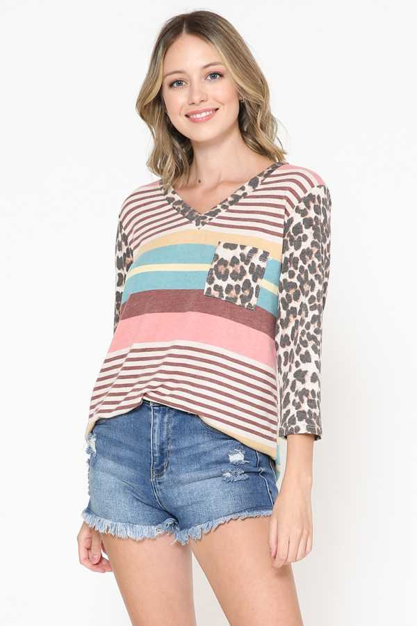 STRIPE PRINT 3/4 SLEEVE DETAIL TUNIC TOP
