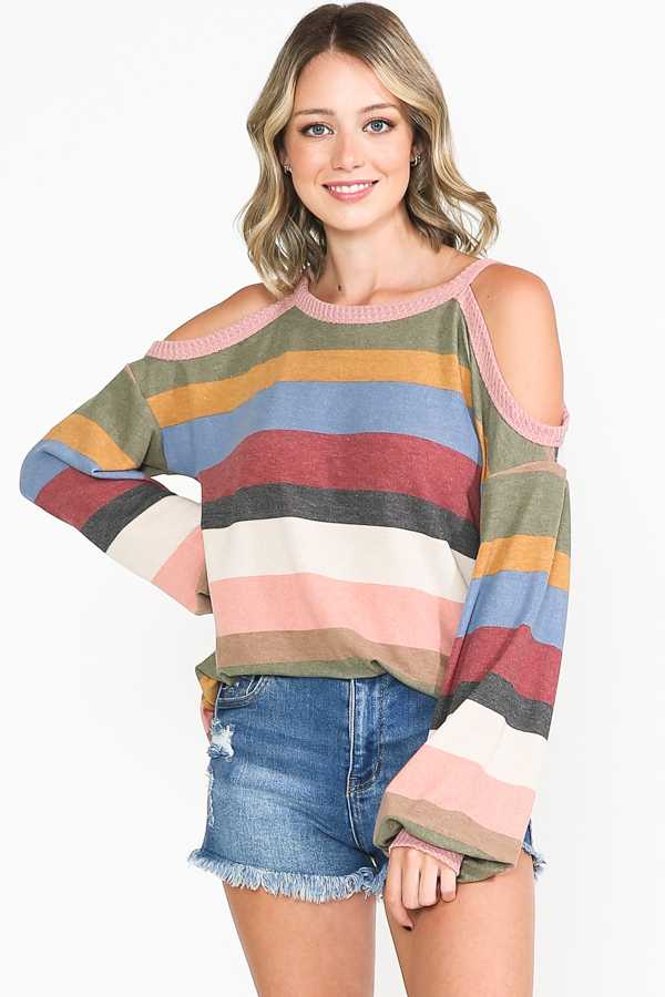 PLUS SIZE-COLD SHOULDER STRIPE TUNIC TOP