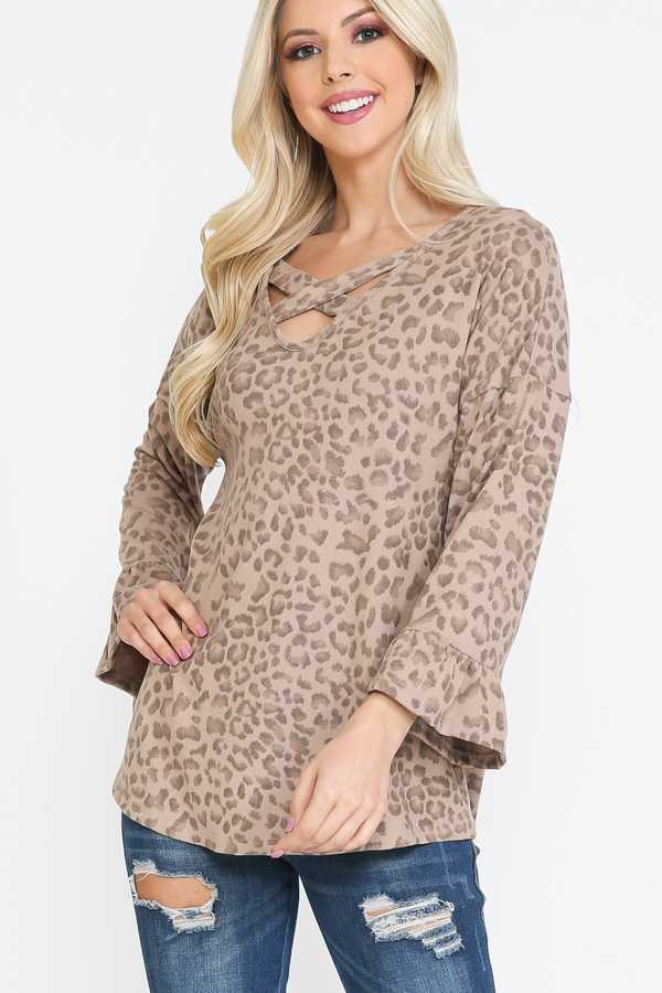 KNIT CROSS STRAP ANIMAL PRINT TOP