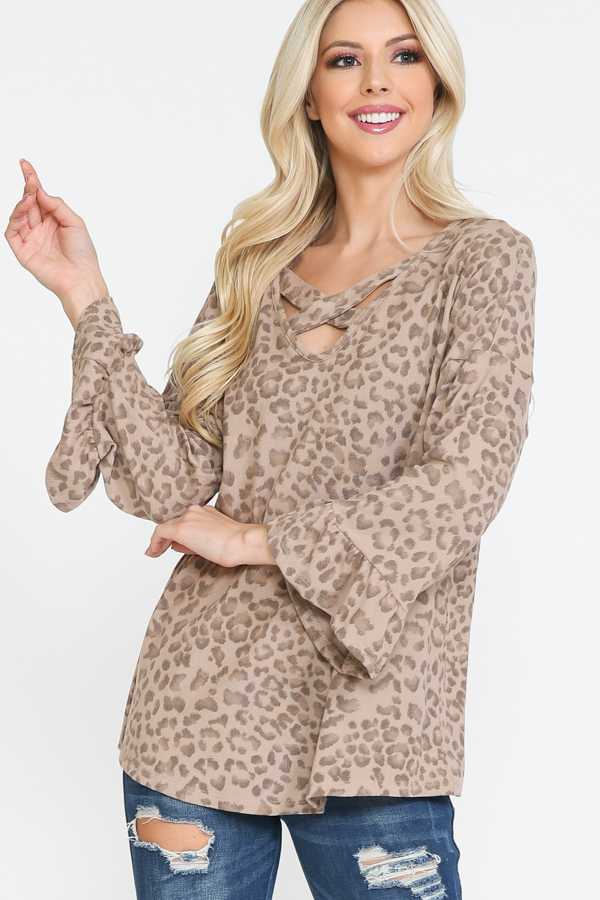 PLUS SIZE-KNIT CROSS STRAP ANIMAL PRINT TOP