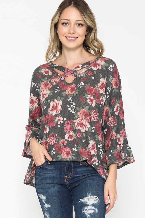 PLUS SIZE-FLORAL PRINT KNIT CROSS STRAP TOP
