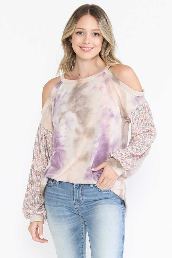 COLD SHOULDER TIE DYE TUNIC TOP