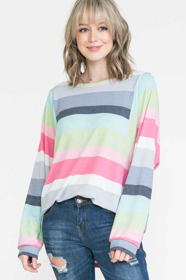 PLUS SIZE-STRIPE PRINT LONG SLEEVE TUNIC TOP