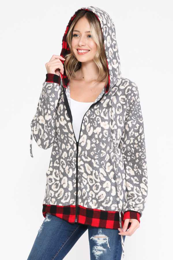 PLUS SIZE-PLAID PRINT DETAIL HOODIE JACKETS