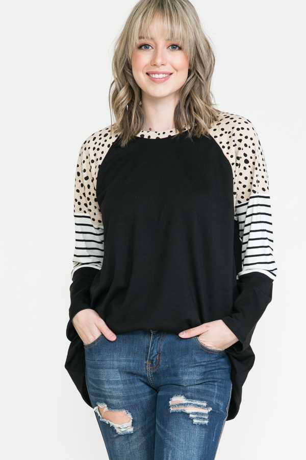 PLUS SIZE-MIX PRINT SLEEVE DETAIL TUNIC TOP