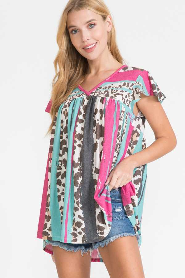 MIX PRINT V NECK RUFFLE SLEEVE TOP