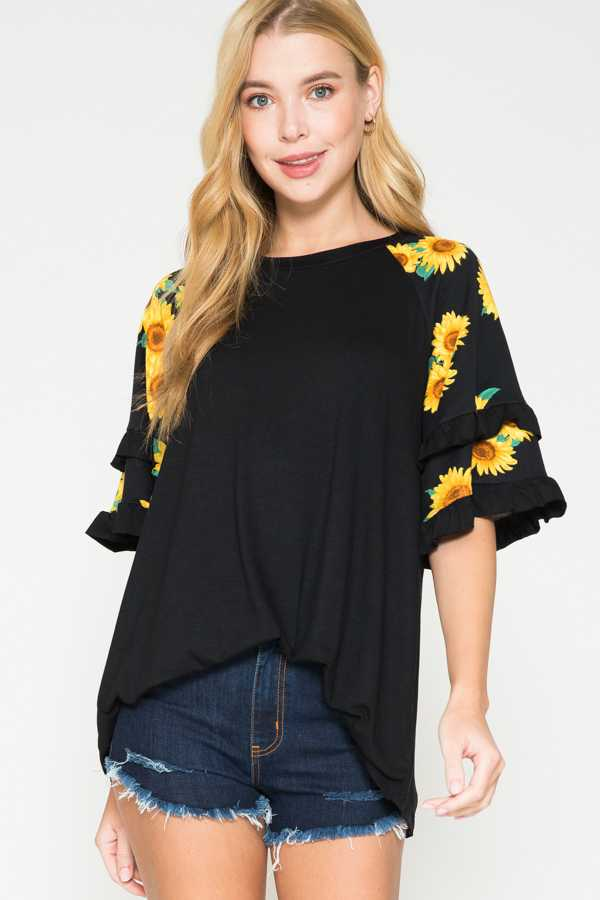 SUNFLOWER PRINT RUFFLE SLEEVE TOP