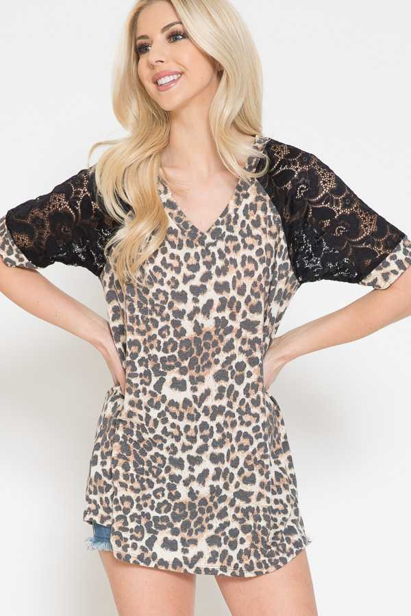 LEOPARD PRINT DETAIL LACE SLEEVE TOP