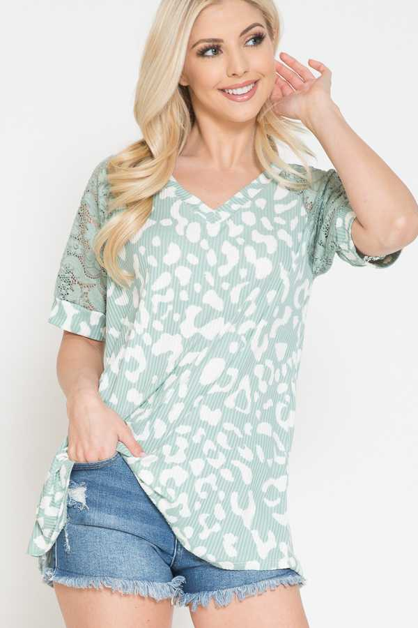 ANIMAL PRINT DETAIL LACE SLEEVE TOP