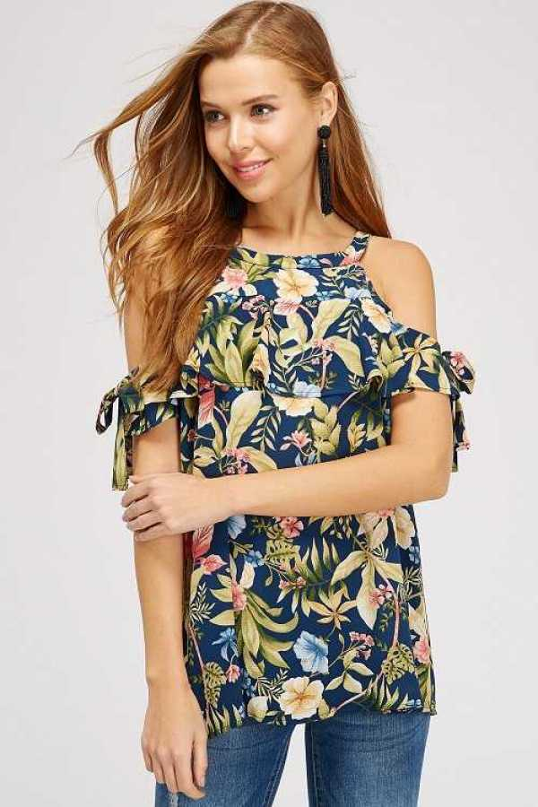 FLORAL LEAF PRINT DETAILED TOP