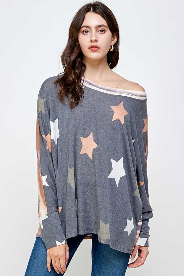 START STRIPE PRINT OFF SHOULDER TOP