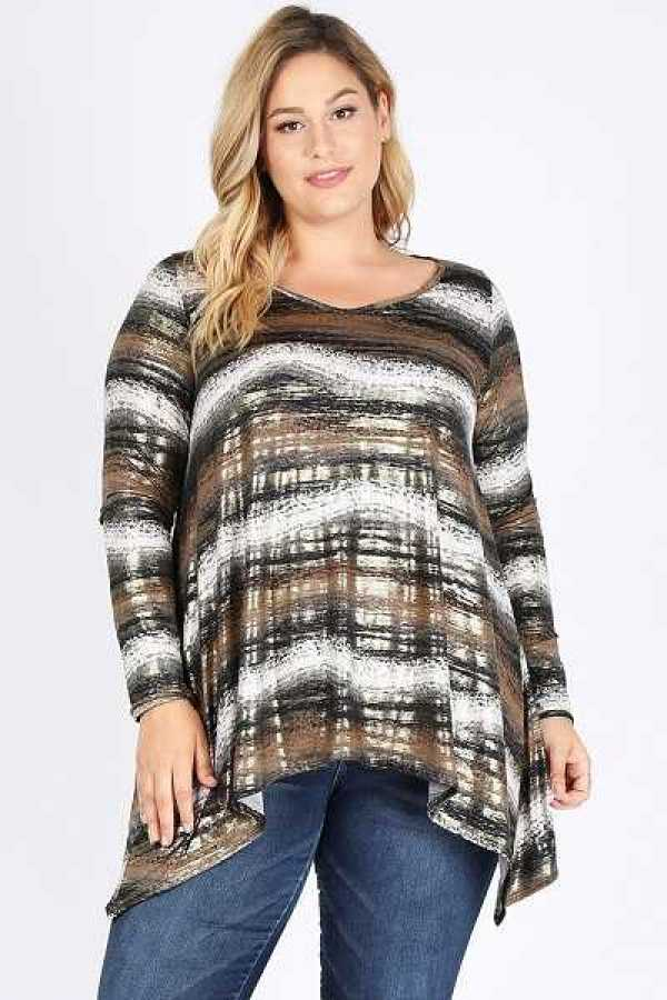 PLUS SIZE STRIPED LONG SLEEVE TOP
