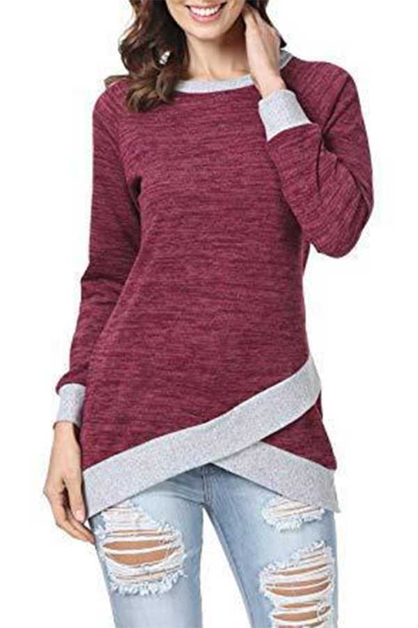 11/19 PRE ORDER TWO TONE CONTRAST WRAP LONG SLEEVE TOP