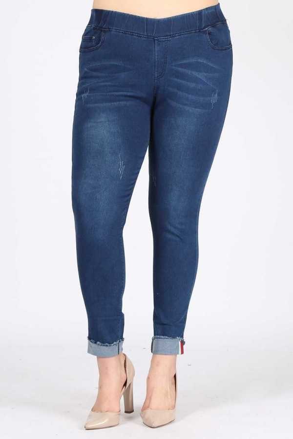 PLUS SIZE-DETAIL DENIM JEGGINGS