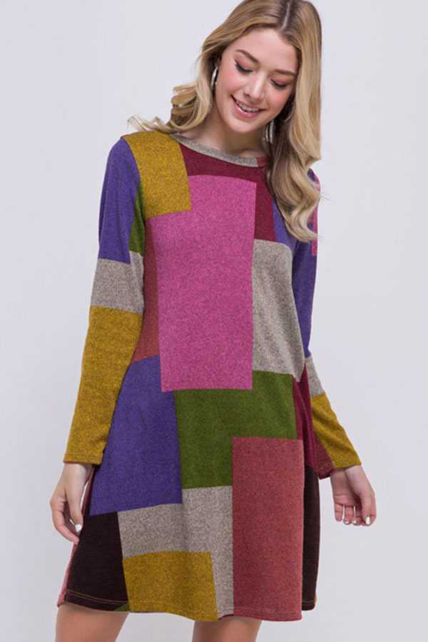PLUS SIZE MULTI COLORBLOCK DRESS WITH POCKETS