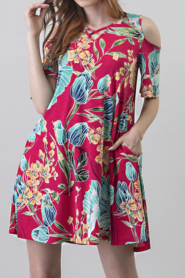 CRISS CROSS COLD SHOULDER FLORAL PRINT DRESS WITH POCKETS