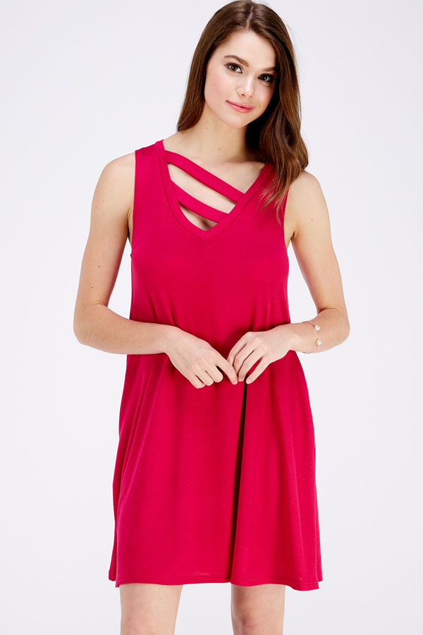 STRAP DETAIL SOLID KNIT DRESS WITH POCKETS