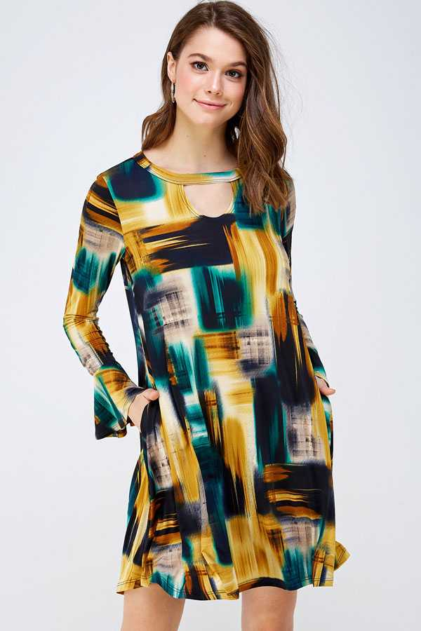BELL SLEEVE CHEST CUTOUT DRESS WITH POCKETS
