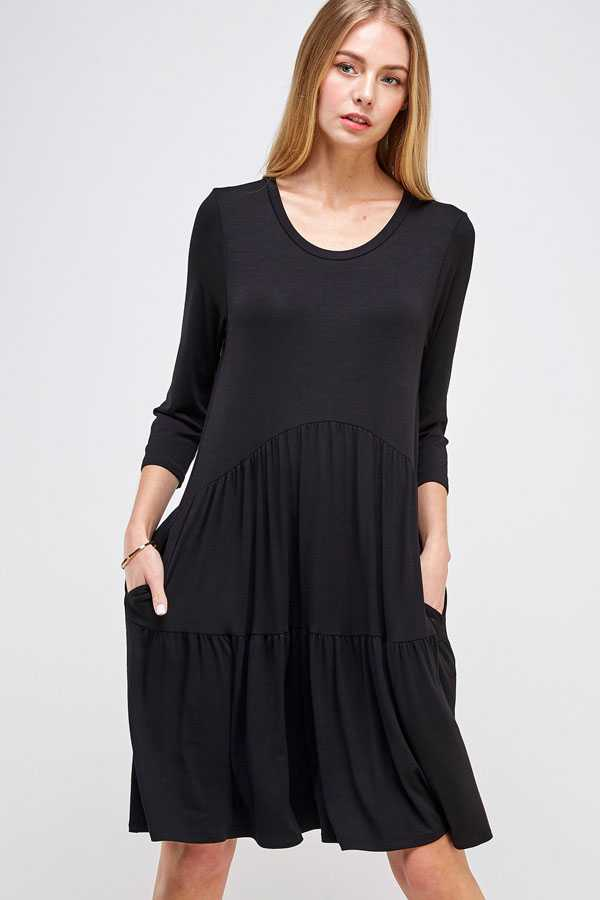 PLUS SIZE-POCKETS DETAIL SOLID DRESS