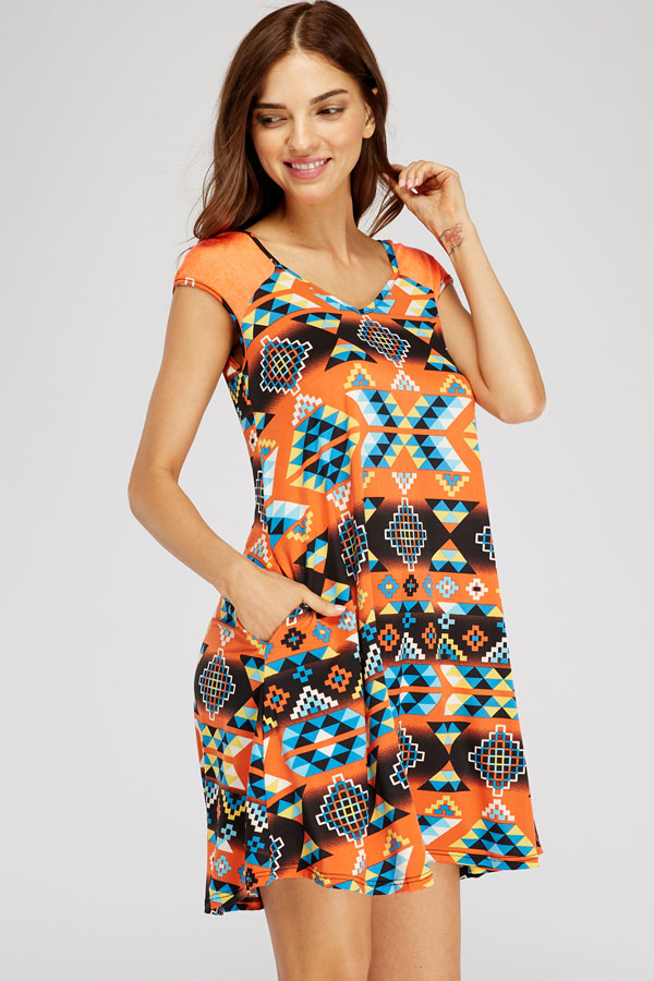 PLUS SIZE SHOULDER CONTRAST TRIBAL PRINT DRESS WITH POCKETS
