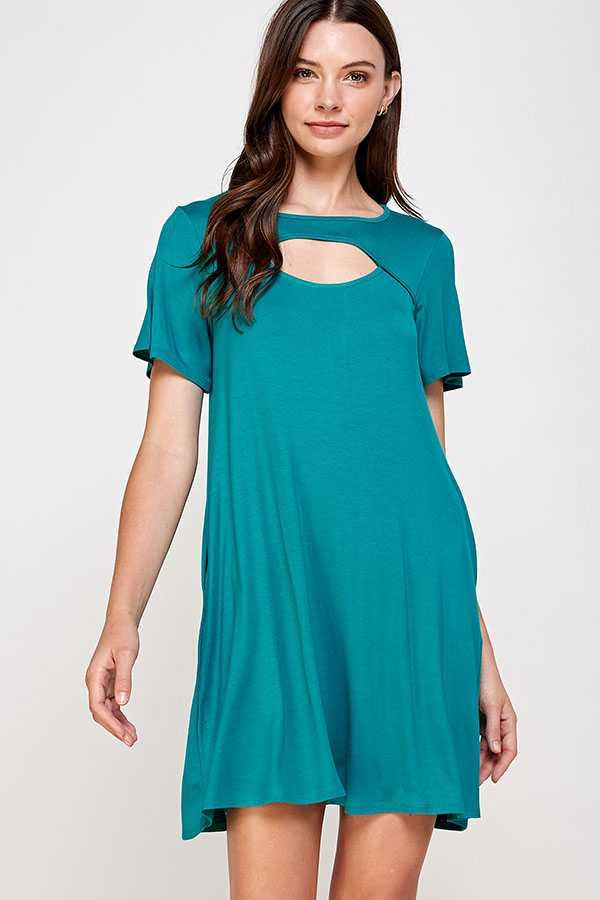 SOLID OPEN CHEST DRESS W POCKETS