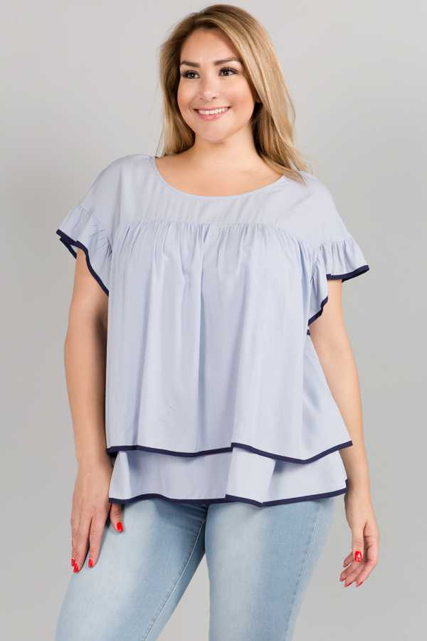 PLUS SIZE CONTRAST TRIM RUFFLED TUNIC TOP
