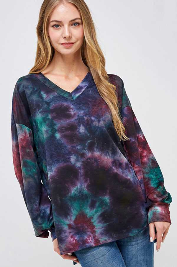 PLUS SIZE TIE DYE PRINT LONG SLEEVE TOP