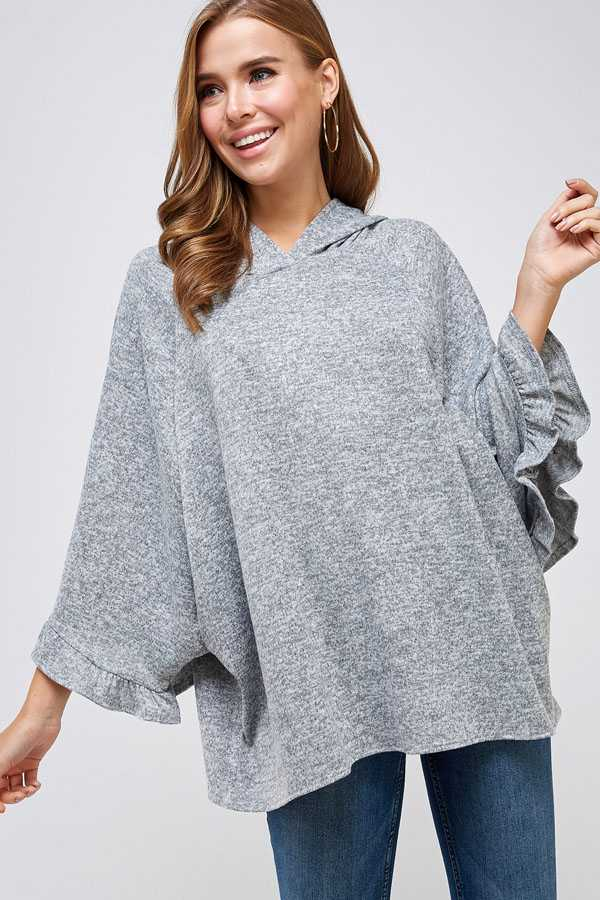 WIDE RUFFLE SLEEVE KNIT HOODED TUNIC TOP