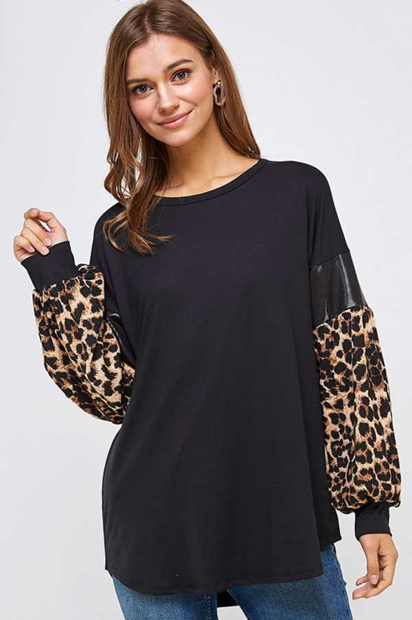 PLUS SIZE BISHOP SLEEVE LEOPARD PRINT TUNIC TOP