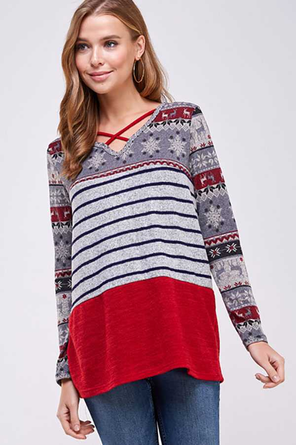 CRISS CROSS STRIPED CONTRAST DETAILED TOP
