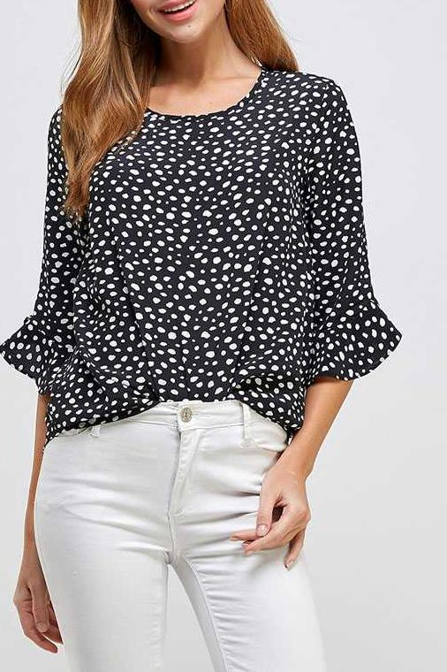 POLKA DOT RUFFLE SLEEVE TUNIC TOP