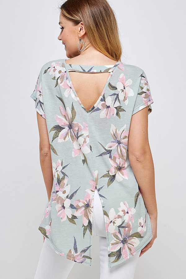 FLORAL PRINT BACK CUTOUT DETAILED TOP