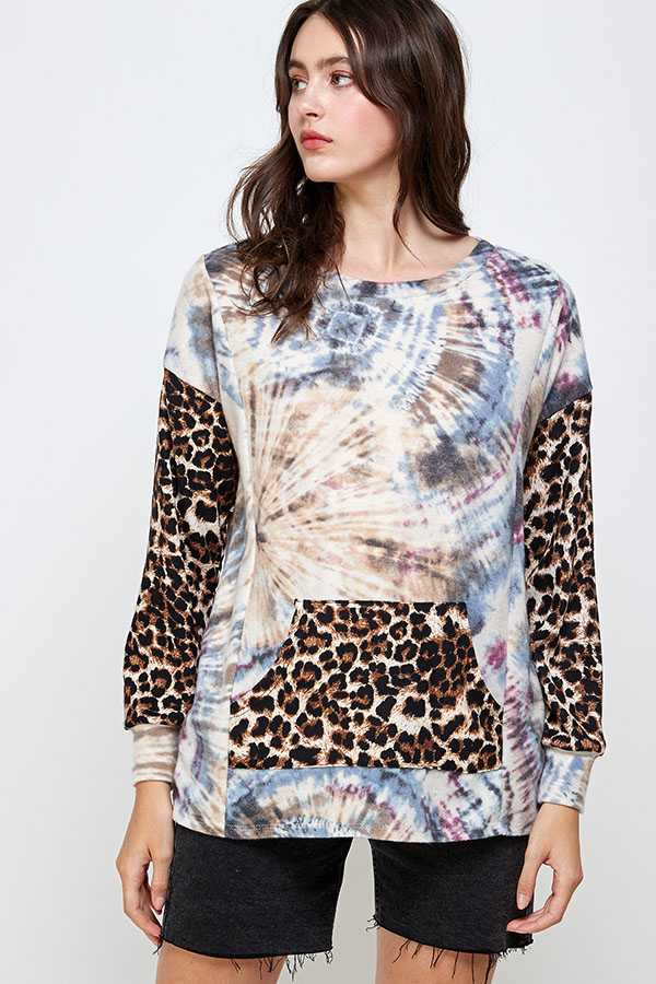 LEOPARD & TIE DYE PRINT LONG SLEEVE DETAIL TOP